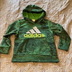 Boys Adidas hoodie green & black size 5